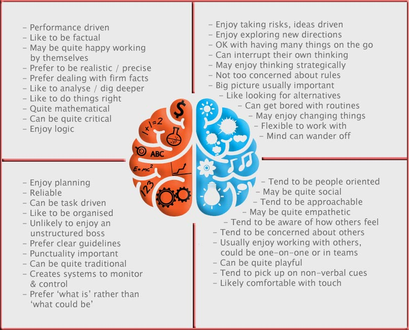 Summary of the four quadrants of an NBI Neethling brain profile